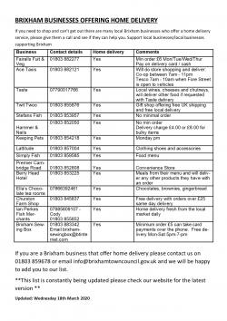Brixham Businesses Offering Home Delivery