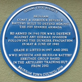 Blue Plaque at Brixham Battery Heritage Museum