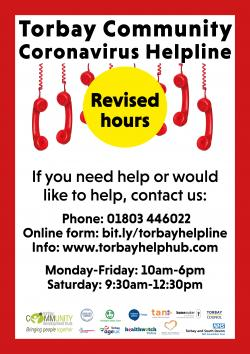 The Torbay Community Coronavirus Helpline hours have reduced