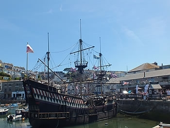 Replica of the Golden Hind at Brixham Harbour